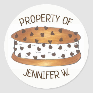 Property of Personalized Chipwich Ice Cream Foodie Classic Round Sticker