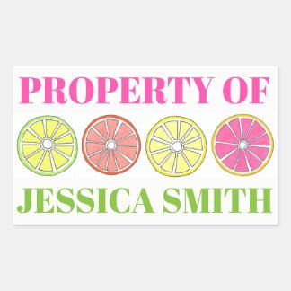 Property of Personalized Citrus Fruit Lemon Lime Sticker