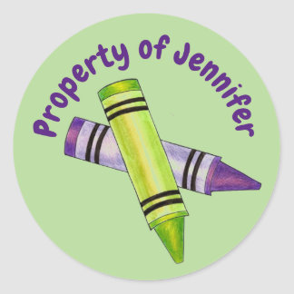 Property of Personalized Green Purple Crayon Classic Round Sticker