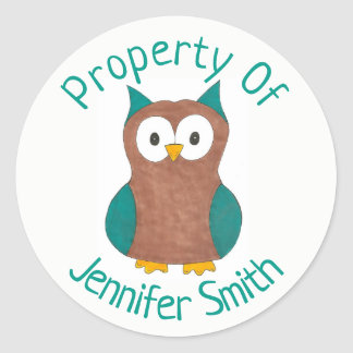 Property of Personalized Wise Brown Owl Bird Classic Round Sticker