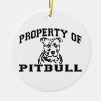 Property of Pitbull Round Ceramic Ornament