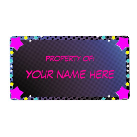 property of,  sticker shipping label