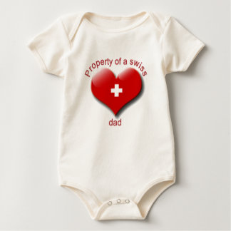property of swiss dad baby bodysuit