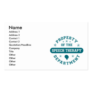 Property of the Speech Therapy Department Business Card