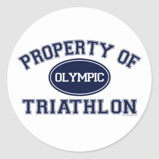 Property of Triathlon t-shirts Classic Round Sticker