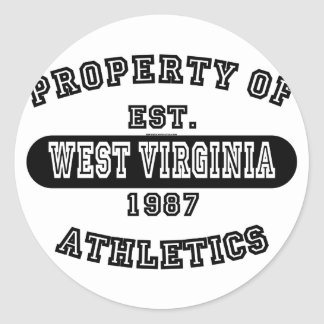 Property of West Virginia shirts Classic Round Sticker