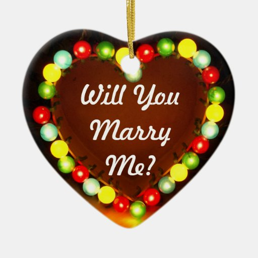 Proposal Heart Light, Will You Marry Me? Ceramic Heart Ornament