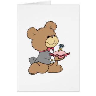 proposal or ring bearer teddy bear design greeting card