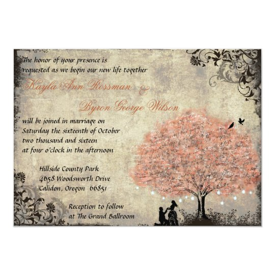 Proposal Salmon Tree Vintage Wedding Invitation