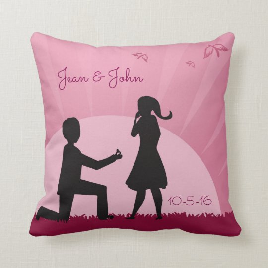 Proposal Throw Pillow With Couple Silhouette