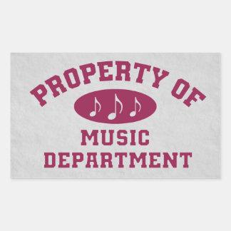 Propriété de département de musique sticker rectangulaire