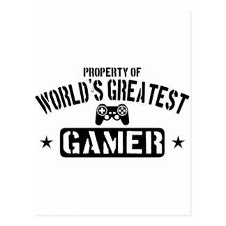 Propriété du plus grand Gamer du monde Carte Postale