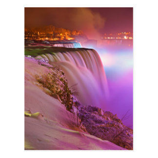 Prospect Point Night View of Niagara Falls Winter Postcard