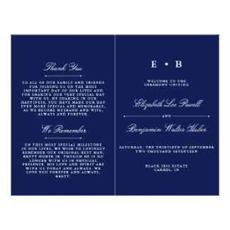 Prospectus 21,6 Cm X 24,94 Cm Modèle élégant de programme de mariage de bleu
