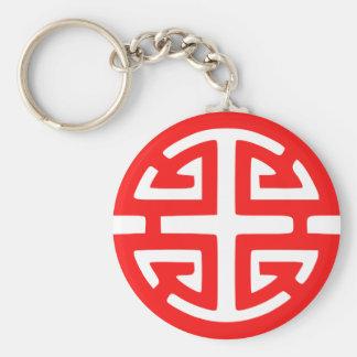 Prosperity symbol basic round button keychain