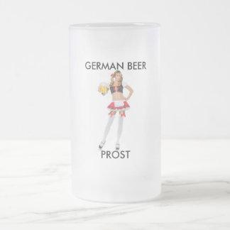 PROST, GERMAN BEER 16 OZ FROSTED GLASS BEER MUG