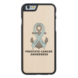 Prostate Cancer Anchor of Hope Carved Maple iPhone 6 Case
