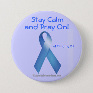 Prostate Cancer Blue Ribbon 3 Inch Round Button