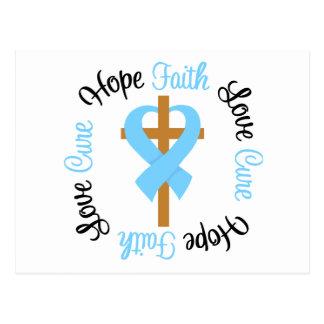 Prostate Cancer Faith Hope Love Cross Postcard