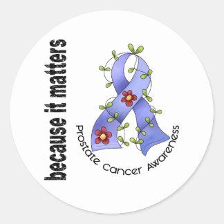 PROSTATE CANCER Flower Ribbon 3 Round Sticker
