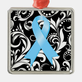 Prostate Cancer Ribbon Deco Noir Silver-Colored Square Ornament