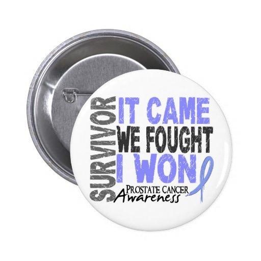 Prostate Cancer Survivor It Came We Fought I Won Pins