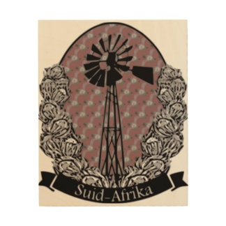 Protea en Windpomp Wood Print