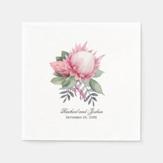 Protea Fantasy Floral Wedding Paper Napkin