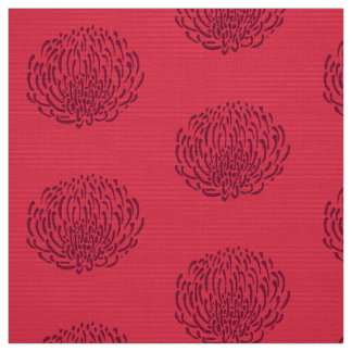 Protea flower print: red fabric