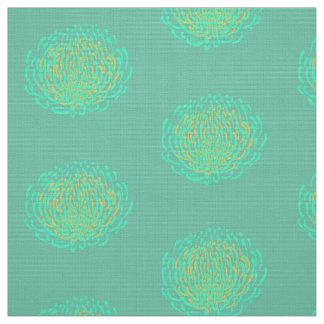 Protea flower print: yellow, turquoise fabric