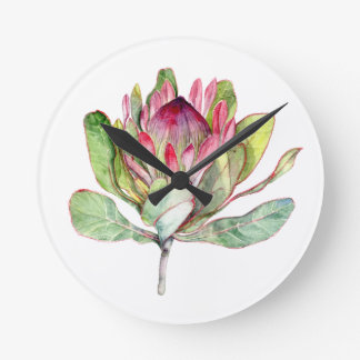 Protea Flower Round Clock
