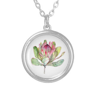 Protea Flower Silver Plated Necklace