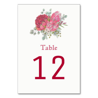 Protea Flowers Table Number Cards
