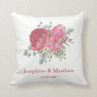 Protea Flowers & Waratah Wedding Throw Pillow
