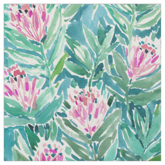 PROTEA PARADISE Tropical Floral Watercolor Fabric