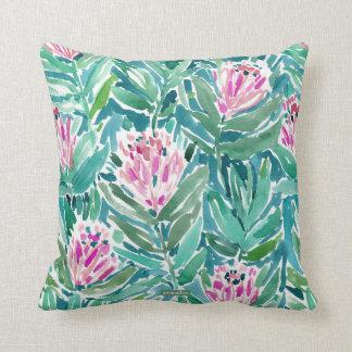 PROTEA PARADISE Tropical Floral Watercolor Throw Pillow