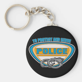 Protect and Serve Handcuffs Basic Round Button Keychain