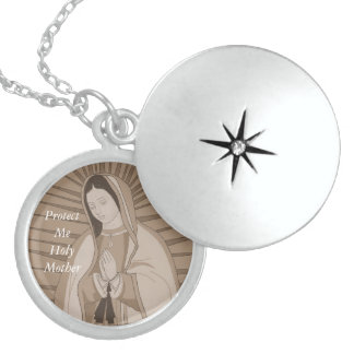 protect me holy mother locket necklace