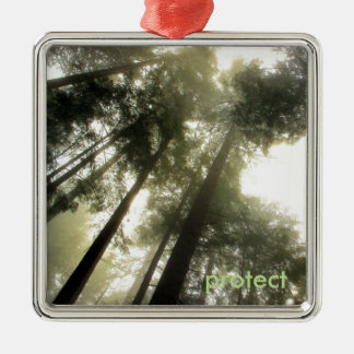Protect Our Forests Silver-Colored Square Ornament