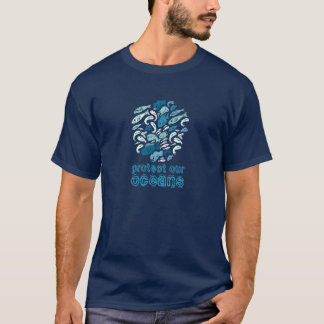 Protect our Oceans Blue Fish Globe T-shirt