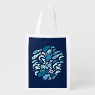 Protect our Oceans Blue Fish Reusable Grocery Bag