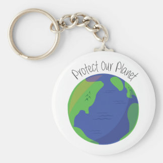 Protect Our Planet Basic Round Button Keychain
