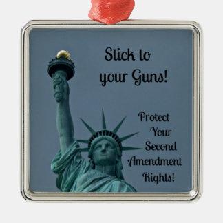 Protect Second Amendment Rights... Silver-Colored Square Ornament