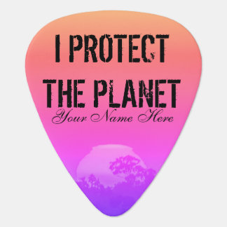 Protect the Planet Pink Orange Rainbow Sunset Tree Guitar Pick