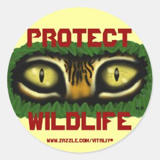 Protect wildlife tiger eyes cartoon art sticker