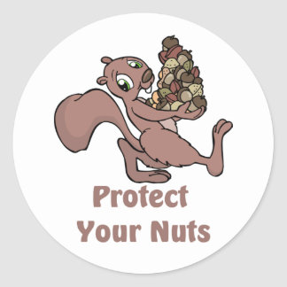 Protect Your Nuts Round Sticker