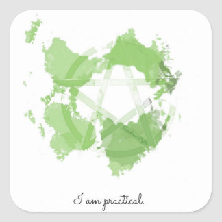 Protected Affirmation Green Earth Pentacle Sticker