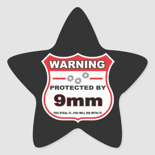 protected by 9mm shield star sticker