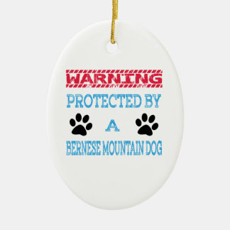 Protected By A Bernese Mountain Dog Ceramic Oval Ornament