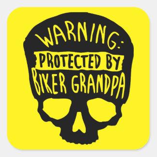 Protected By A Biker Grandpa Square Sticker